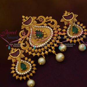 Kemp AD Matte Gold Fusion Pendant Set Latest Fashion Jewellery Designs Online