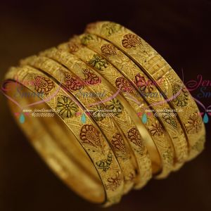 One Gram Jewellery 6 Pcs Set Forming 100Mg Gold Forming Imitation Enamel Bangles Real Look Designs Online