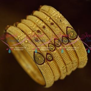 Forming Gold One Gram Jewellery 6 Pcs Set Bangles Meenakari Collections Premium Designs Online