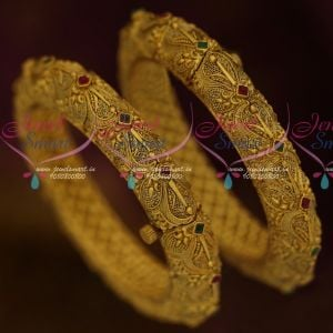 Nakshi Design Matte Antique Jewellery Uneven Finish Latest Screw Open Design Collections Bangles Online