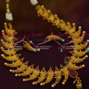 Kerala Style South Indian One Gram Gold Jewellery Antique Necklace Shop Online Screwback Earrings