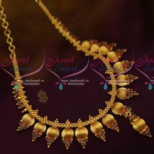 South Indian Beads Design Jewellery Short Necklace AD Ruby Stone Buy Online