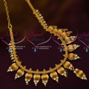 AD White Stones Short Necklace South Indian Fashion Jewellery Set Shop Online