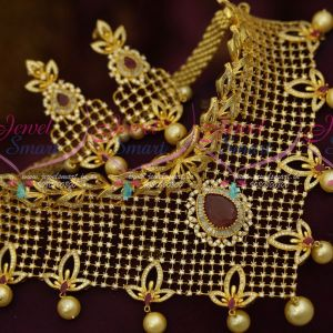 AD Bridal Jewellery Unique Choker Flexible Design Ruby White Dazzling Stones Imitation Collections Online