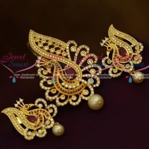 Ruby Fashion Jewellery for Women Gold Plated Low Price Pendant Earrings Set Shop Online