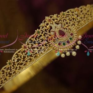 AD Dazzling Stones Imitation Traditional South Indian Ornaments Vaddanam Collections Peacock Design Bridal Wear