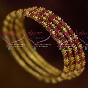 AD Stones Jewellery Ruby White 4 Pcs Set Thin Marquise Round Combined Design Bangles Shop Online