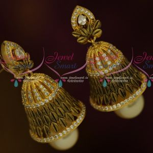 Antique Jewellery Matte Gold Plated AD White Stones Low Price Jhumka Earrings Shop Online
