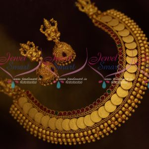 Baahubali Movie Fame Devasena Anushka Temple Jewellery Coin Kasumala Jhumka Earrings Online