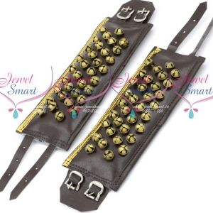 Leather 4 Lines Bharatanatyam Indian Classical Dance Brass Salangai Adjustable Buckle