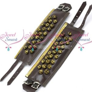 Leather 3 Lines Bharatanatyam Indian Classical Dance Brass Salangai Adjustable Buckle