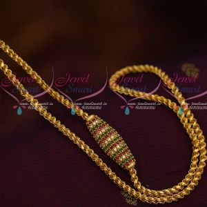 Gold Plated Thali Kodi Chain Ruby Fancy Capsule  Mugappu 3.5 MM 24 Inches Shop Online