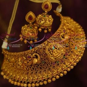 Bridal Fashion Jewellery Matte Reddish Antique Temple Broad Choker Peacock Red Green Stones Collections