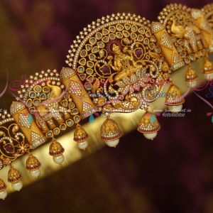 32-42 Inches Latest Bridal South Indian Jewellery AD Oddiyanam Temple Nakshi Matte Antique Reddish Gold Kemp Online