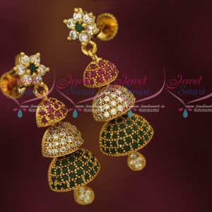 Ruby White Green Screwback 3 Step Small Size Half Jhumka South Indian Jewellery Shop Online