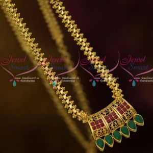 AD Ruby Emerald Chain Pendant Low Price Gold Plated South Indian Jewellery Online