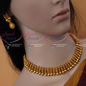 Antique Matte Gold Plated Kerala Style Short Necklace Latest Fashion Jewellery Designs Online