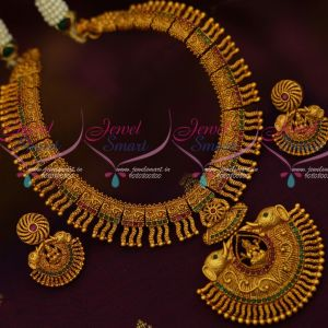 Kerala Style South Indian Temple Necklace Matte Reddish Gold Imitation Designs Shop Online