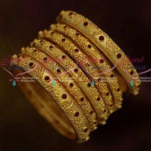 Gheru Reddish Plated Stylish Design Forming 100MG Bangles 6 Pieces Set Bridal Jewellery