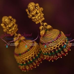 Antique Matte Jewellery Temple Big Size Heavy Jhumka Earrings Red Green Stones Online