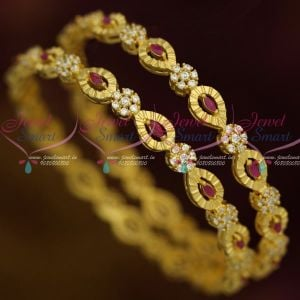 Light Gold Matte AD Ruby White Fancy Design Bangles Latest Fashion Jewellery