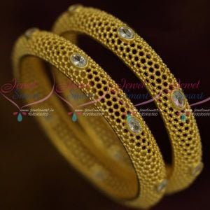 Light Gold AD White Stone Beads Design Latest Bangles Buy Fashion Jewellery