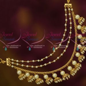 White Pearl Earchains Maatil Bead Drops Gold Plated Fashion Jewellery Shop Online
