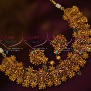 Broad Temple Jewellery Antique Matte Gold Latest Traditional Beads Danglers Design Shop Online