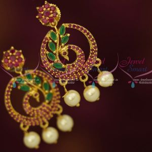 Stylish Ruby Emerald Peacock Earrings Small Design Fashion Jewellery Shop Online