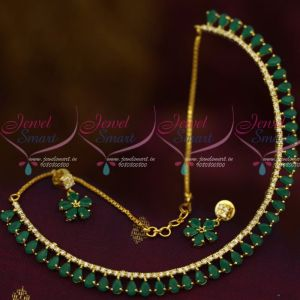 Emerald Green Colour AD Stones Thin Delicate Jewellery Set Low Price Shop Online
