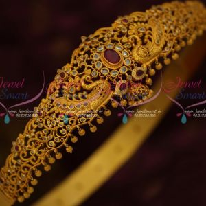 Uncut Stones Matte Antique Reddish Gold Kemp AD Oddiyanam Latest Fashion Bridal Jewellery Online