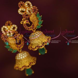 Matte Gold Reddish Colour Stylish AD Multi Colour Jhumka Earrings Latest Jewellery Online