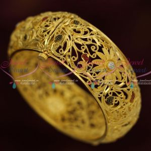 Broad Single Piece Screw Open Bangle Forming Gold Enamel Jewellery Designs Online