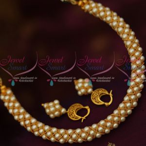 White Pearl Jewellery Handmade Pattern Matte Finish Metal String Latest Fashion Shop Online