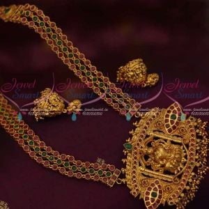 Temple Nagas Pendant 3 Line Beads Stone Chain Red Green Stones Latest Jewellery Designs Online