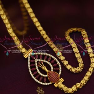 5 MM Gold Plated Chain 24 Inches AD Ruby Mugappu South Indian Imitation Jewellery Designs Online