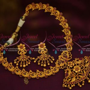 Antique Jewellery Peacock Design Ruby Necklace Matte Gold Finish Latest Fashion Reasonable Price