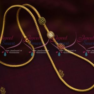 3 MM Roll Kodi Chain AD Ruby Emerald Ball Design South Indian Jewelry Gold Plated Chains