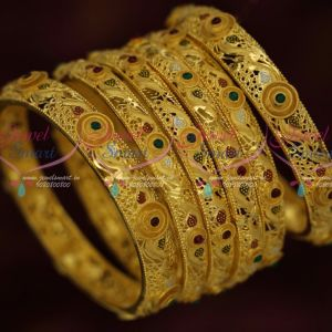 Light Matte Forming 100 Milli Gram Gold Jewellery Meenakari Colour 6P Set Bangles Shop Online
