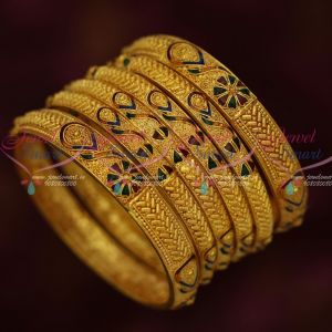One Gram Gold Reddish Plated Jewellery 6 Pieces Floral Enamel Bangles Latest Designs Online