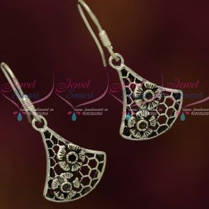 92.5 Silver Oxidised Jewellery Floral Design Hook Hanging Earrings Shop Online Fancy