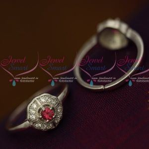 AD Pink Stones 92.5 Silver Antique Toe Rings South Indian Auspicious Jewellery Metti Shop Online