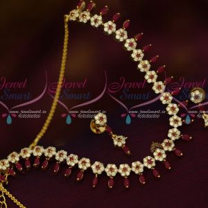 AD Semi Precious Stones Jewellery Floral Ruby White Fancy Imitation Necklace Set Online