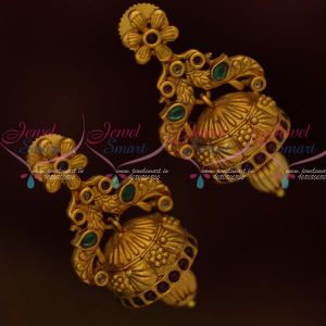 Fancy Peacock Design Antique Matte Gold Finish Jhumka South Indian Jewellery Shop Online