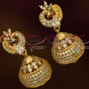 AD Fashion Jewellery Peacock Jhumka White Stones Screwback South Indian Designs Online