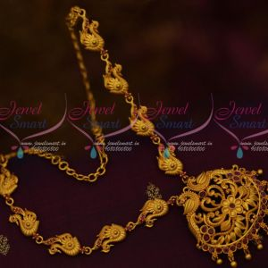 South Indian Jewellery Matte Gold Covering Finish Fancy Ruby Stones Online