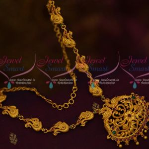 South Indian Jewellery Matte Gold Covering Finish Fancy Ruby Emerald Stones Online