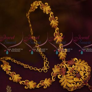 Stylish Matte Jewellery Set Peacock Necklace Low Price AD Ruby Stones Shop Online