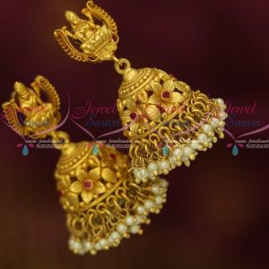 Temple One Gram Gold Jewellery Screw Lock Pearl Jhumka Earrings Traditional Designs Online