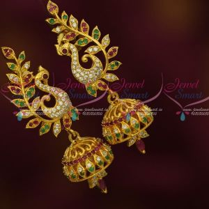 Peacock Fancy Design American Diamond Jewellery Jhumki Imitation Collections Online